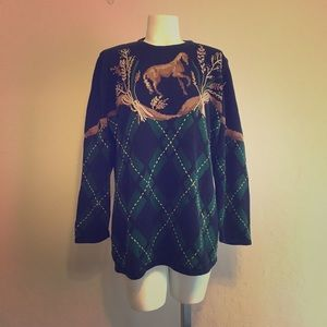 Vintage Susan Bristol Embroidered Horse Sweater